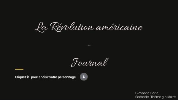 Mon journal de la Révolution américaine
