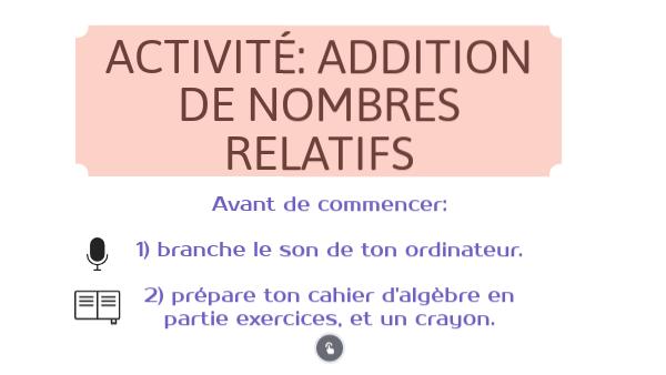 introduction addition de relatifs 5e